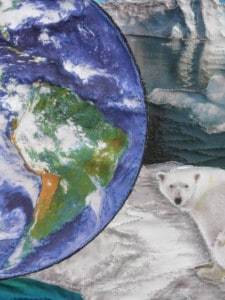 Art Quilt By Judith Elder-McCartney: Global Warming - Save Our Planet